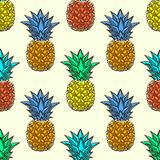 Bezszwowy wzór z pociągany ręcznie stubarwnymi ananasami Zdjęcie Stock
