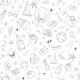 Bezszwowy wzór z podróży ikonami Wakacje, wakacje, podróż Ręka Rysujący wektorowy tło Zdjęcie Stock