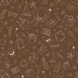 Bezszwowy wzór z podróży ikonami Wakacje, wakacje, podróż Ręka Rysujący wektorowy tło Obrazy Stock