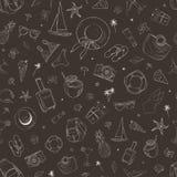 Bezszwowy wzór z podróży ikonami Wakacje, wakacje, podróż Ręka Rysujący wektorowy tło Obrazy Royalty Free