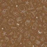 Bezszwowy wzór z podróży ikonami Wakacje, wakacje, podróż Ręka Rysujący wektorowy tło Obraz Royalty Free