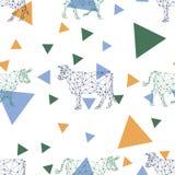 Bezszwowy wzór z poligonalnymi wizerunkami krowy i trójboki royalty ilustracja
