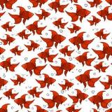 Bezszwowy wzór z pomarańczowym goldfish royalty ilustracja