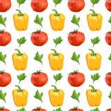 Bezszwowy wzór z pomidorami, koloru żółtego pieprzem, i Ilustracja Wektor