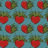 Bezszwowy wzór z przyrodnimi natur roślinami i czerwonymi sercami Zdjęcia Royalty Free