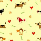 Bezszwowy wzór z psem, kotem i kogutem, Zdjęcie Stock