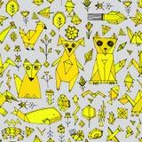 Bezszwowy wzór z Psich kota lisa ryba ptaków dennymi zwierzętami i roślinami, Czarny kontur musztardy kolor żółty na popielatym t Obrazy Stock