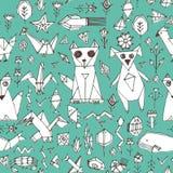 Bezszwowy wzór z Psich kota lisa ryba ptaków dennymi zwierzętami i roślinami, Czarny kontur na błękitnej zieleni tle, doodle deko Zdjęcia Royalty Free