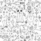 Bezszwowy wzór z Psich kota lisa ryba ptaków dennymi zwierzętami i roślinami, Czarny kontur na białym tle, doodle dekoracyjnych e Obrazy Stock