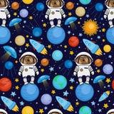 Bezszwowy wzór z psim astronauta w przestrzeni Obraz Royalty Free