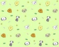 Bezszwowy wzór z psimi głowami na ślicznym tle ilustracja wektor