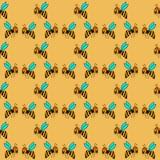 Bezszwowy wzór z pszczołą - 1 Obrazy Royalty Free
