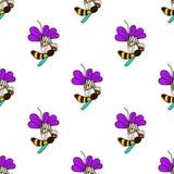 Bezszwowy wzór z pszczołą - 5 Zdjęcie Royalty Free