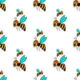 Bezszwowy wzór z pszczołą Obrazy Stock