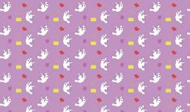 Bezszwowy wzór z ptaków listami i sercami Obraz Royalty Free
