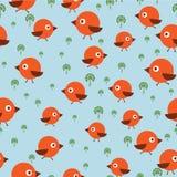 Bezszwowy wzór z ptakami Obrazy Royalty Free
