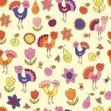 Bezszwowy wzór z ptakami i kwiatami Obrazy Royalty Free