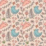 Bezszwowy wzór z ptakami i kwiatami na beżu Obrazy Royalty Free