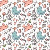 Bezszwowy wzór z ptakami i kwiatami na bielu Zdjęcie Stock