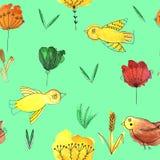 Bezszwowy wzór z ptakami i kwiatami na zielonym tle royalty ilustracja