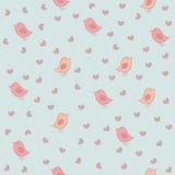 Bezszwowy wzór z ptakami i sercami. Zdjęcia Stock