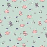 Bezszwowy wzór z ptakami, sercami, chmurami i nie, Zdjęcie Royalty Free