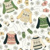 Bezszwowy wzór z pulowerami, mitynki Obrazy Stock