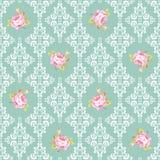 Bezszwowy wzór z różami i adamaszków elementami Obraz Stock