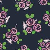 Bezszwowy wzór z różami i motylami również zwrócić corel ilustracji wektora ilustracji