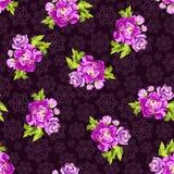 Bezszwowy wzór z różami na tle płatki śniegu Fotografia Stock