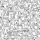 Bezszwowy wzór z różnorodnymi zwierzętami domowymi royalty ilustracja
