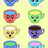 Bezszwowy wzór z różnymi filiżanek emoticons Dobry tkanina projekt i opakunkowy papier Barwiony kawaii doodle filiżanek charakter ilustracja wektor