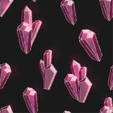 Bezszwowy wzór z z różowymi błyszczącymi kryształami ilustracja wektor