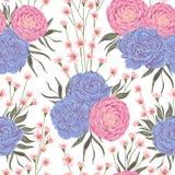 Bezszwowy wzór z różowymi kameliami, błękitnymi bodziszków kwiatami i alstroemeria, ilustracja wektor