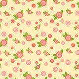 Bezszwowy wzór z różowymi kwiatami różni rozmiary ilustracji