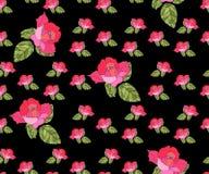Bezszwowy wzór z różowymi różami na czarnym tle styl retro ilustracji