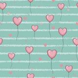 Bezszwowy wzór z różowymi sercami szybko się zwiększać na pasiastym tle ilustracja wektor
