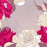 Bezszwowy wzór z róża kwiatami. ilustracja wektor