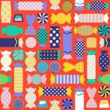 Bezszwowy wzór z różnymi kolorowymi cukierkami Zdjęcie Stock