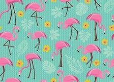 Bezszwowy wzór z różowymi flamingami zdjęcie royalty free