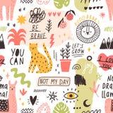 Bezszwowy wzór z ręcznie pisany sloganami i zwierzętami, rośliny, symbol ręka rysująca w modnym doodle stylu kreatywnie royalty ilustracja