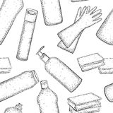 Bezszwowy wzór z ręka rysującą kolekcją produkty dla housekeeping Zdjęcie Royalty Free