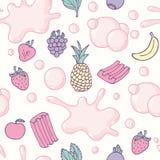 Bezszwowy wzór z ręka rysującym bąbla dziąsła bezszwowym wzorem Multifruit smak Słodki cukierku tło ilustracja wektor