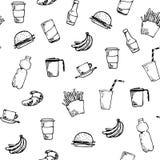 Bezszwowy wzór z ręka rysującym jedzeniem Zdjęcia Stock