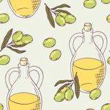 Bezszwowy wzór z ręka rysującym oliwa z oliwek Zdjęcia Royalty Free