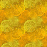 Bezszwowy wzór z ręka rysującym pomarańcze cytrusem Rysować pióro, Obrazy Royalty Free