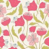 Bezszwowy wzór z ręka rysującymi doodle kwiatami Zdjęcia Royalty Free