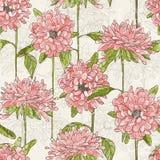 Bezszwowy wzór z ręka rysującymi kwiatami ilustracja wektor