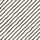 Bezszwowy wzór z ręki rysować fala Abstrakcjonistyczny tło z falistymi szczotkarskimi uderzeniami Czarny i biały freehand linie Fotografia Stock