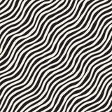 Bezszwowy wzór z ręki rysować fala Abstrakcjonistyczny tło z falistymi szczotkarskimi uderzeniami Czarny i biały freehand linie Obraz Royalty Free